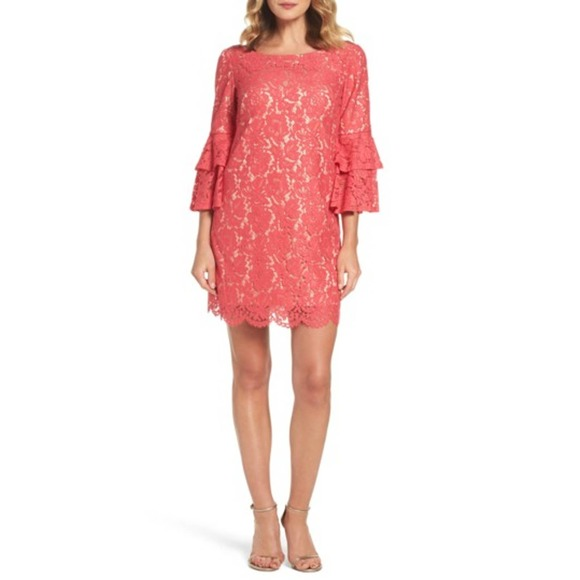 Eliza J Coral Bell Sleeve Lace Dress 6 NWT